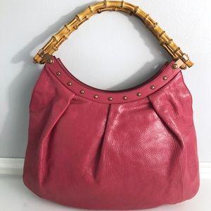 Gucci Studded Bamboo Handle Hobo Shoulder Bag